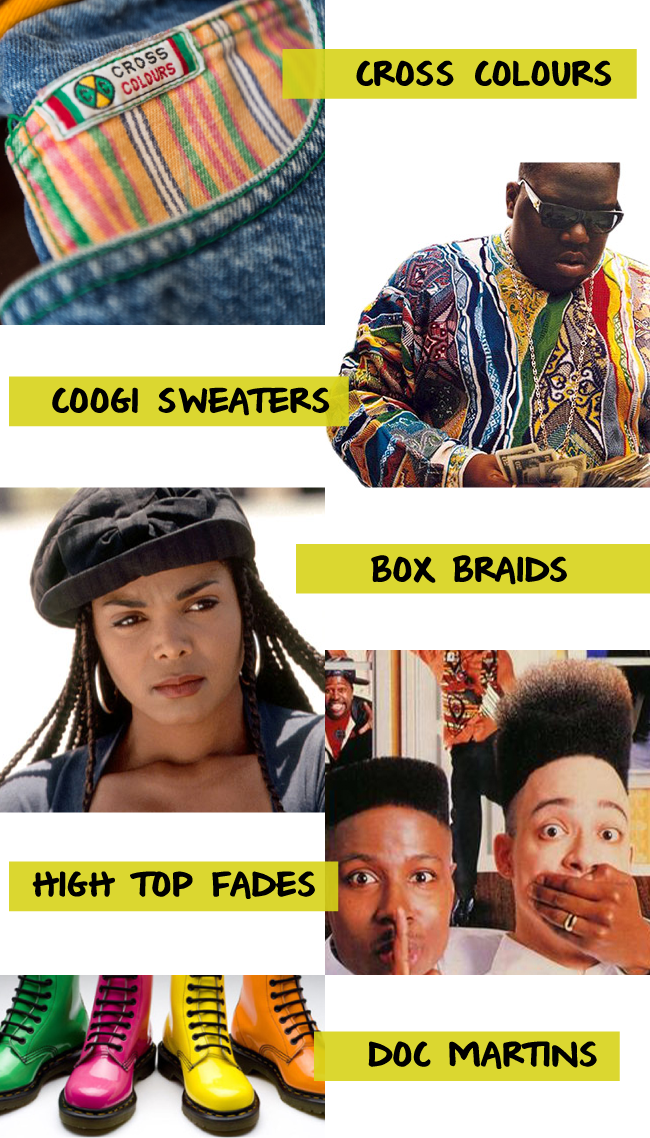 Creative inspiration from the fashion of the 90's.